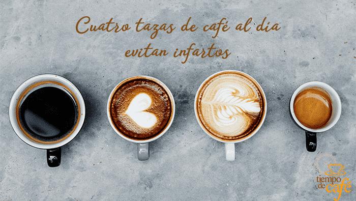 Cuatro tazas de café al día evitan infartos